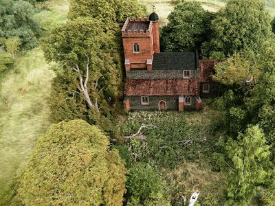 This CGI image shows what the church may have looked like when it was first built. Archaeologists found the church, which dates back to 1080, along with a small number of burials during construction of the HS2 railway system.