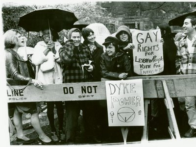 From left to right: Sylvia Rivera, Marsha P. Johnson, Jane Vercaine, Barbara Deming, Kady Vandeurs, Carol Grosberg and others lead a protest at City Hall