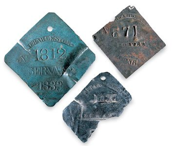 Slave hire badges.  National Museum of American History