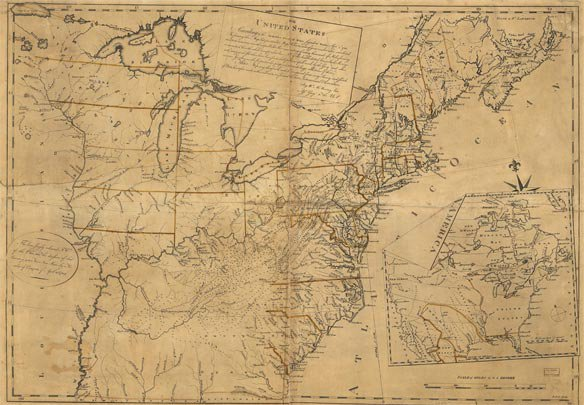 Map of USA according to Definitive Treaty