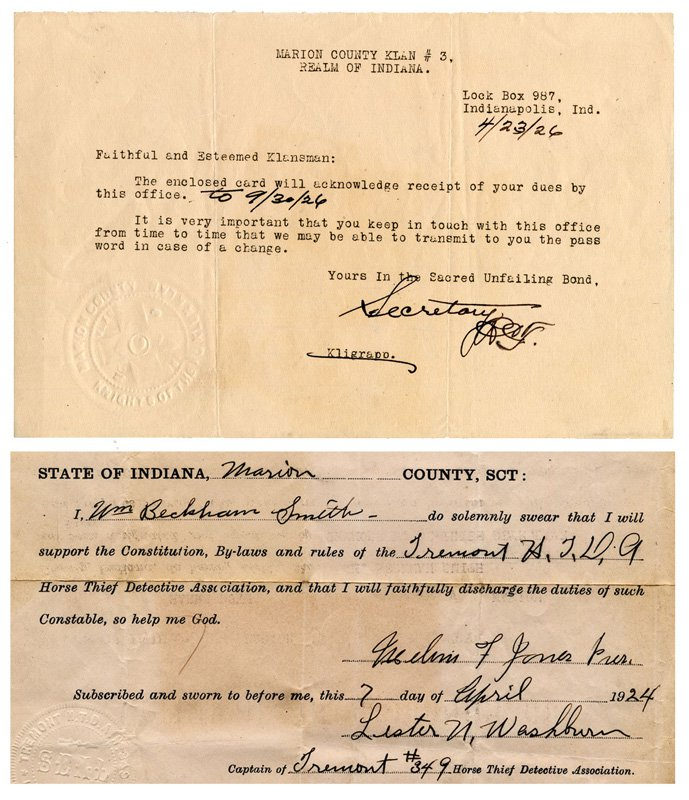 Printed and signed membership receipts for Marion County Klan No. 3