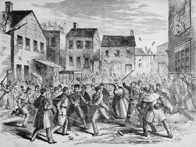 An illustration from Frank Leslie's Illustrated Newspaper that depicts soldiers raiding an illegal distillery in Brooklyn in 1869.