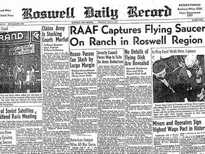 """On July 8, 1947, a headline in the local paper in Roswell, New Mexico ignited 70 years of """"flying saucer"""" sightings."""