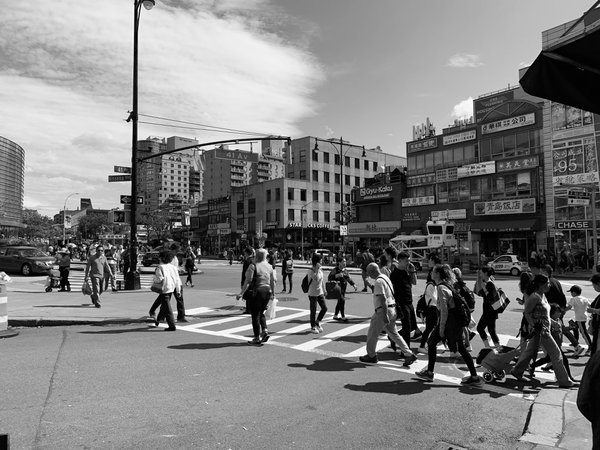 Crossing the street in Flushington. thumbnail