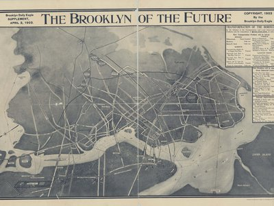 """A two-page spread in a 1903 Brooklyn Daily Eagle supplement shows an aerial depiction of the """"Brooklyn of the Future,"""" complete with ferry lines and projected bridges, subways, tunnels and elevated roads."""