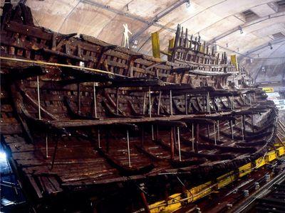 The Mary Rose undergoing restoration.