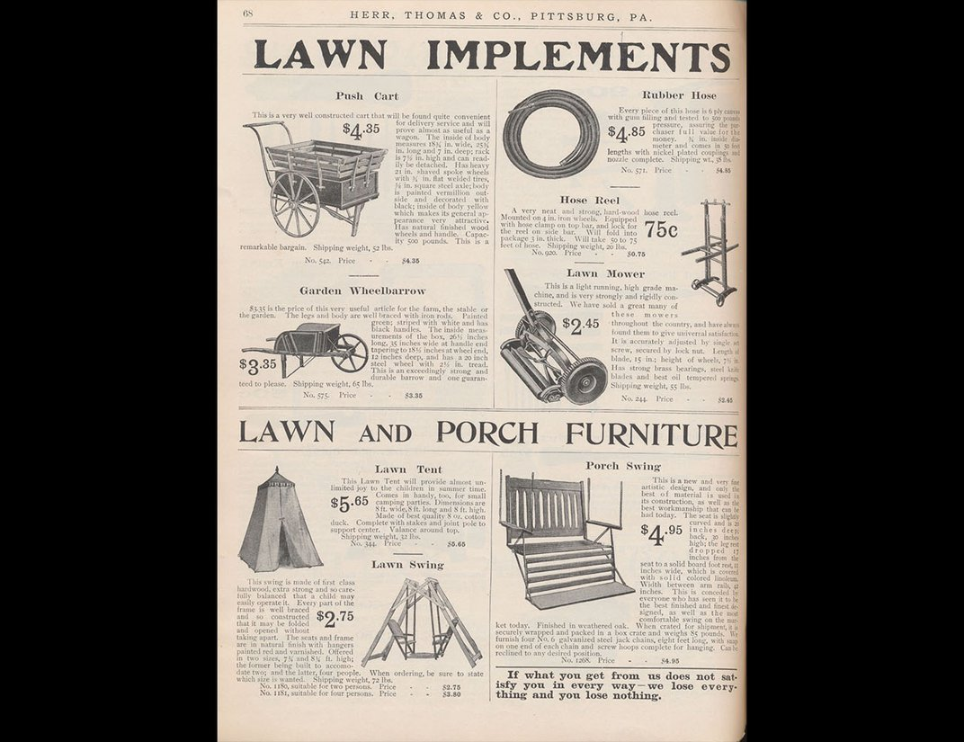 Catalog page with various types of lawn equipment, swings and tents.