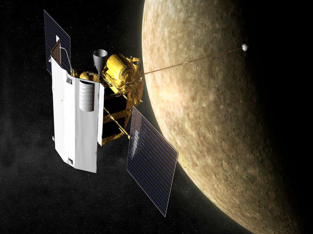 Artist depiction of the MESSENGER spacecraft in orbit around Mercury