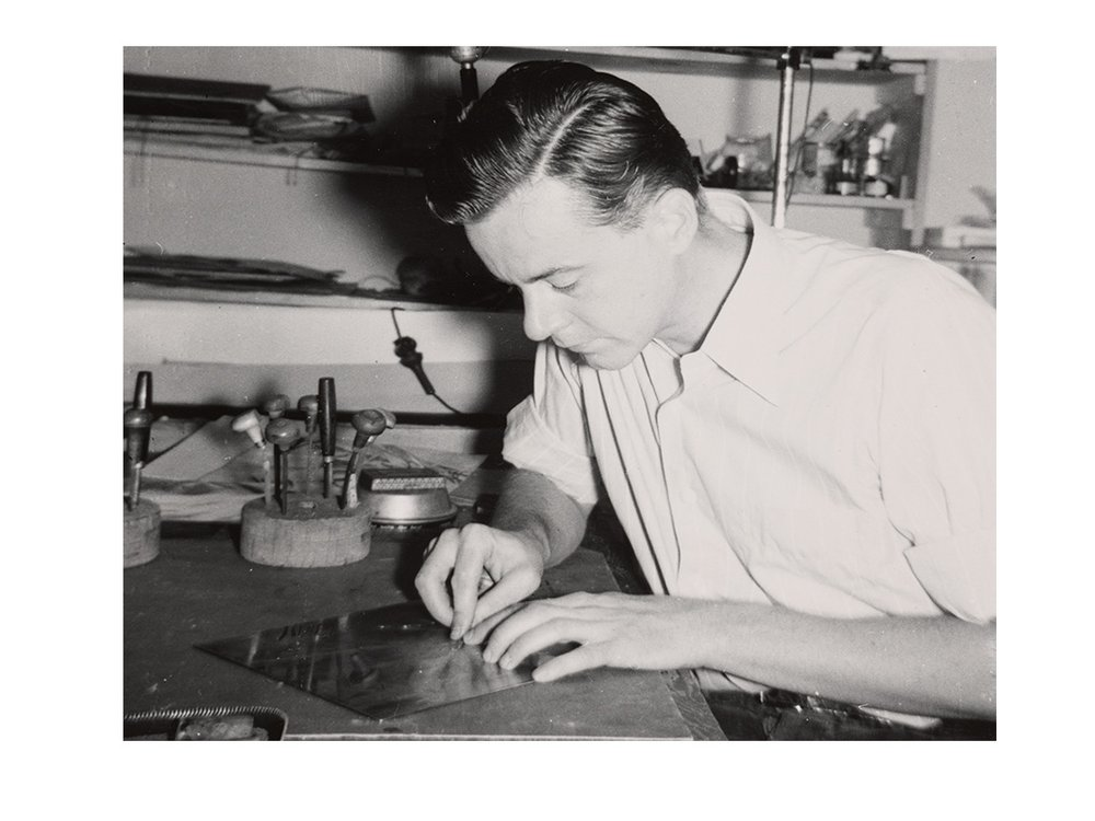 Photograph of Fred Becker creating an etching plate at Atelier 17 in New York City (detail), 194- / unidentified photographer. Fred Becker papers, 1913-2004, bulk 1940-2000. Archives of American Art, Smithsonian Institution.