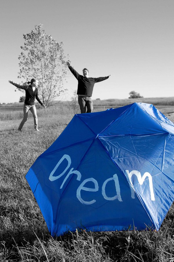 Dream painted on umbrella - Selective coloring. thumbnail