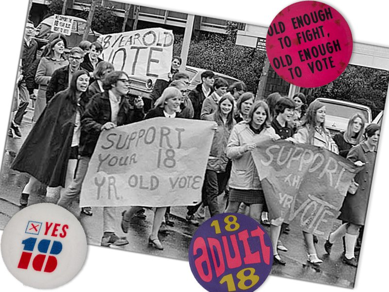 buttons in support of the 26th Amendment on top of a photo of young people marching