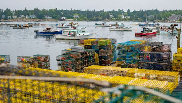 Lobster traps in a Maine seaside village. thumbnail