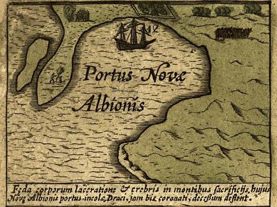 The Hondius map of 1589 inset depicts Drake's encampment at New Albion, Portus Novas Albionis.