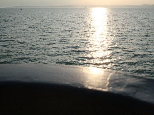 Light Bridge over Lake Balaton. View from a ship. thumbnail