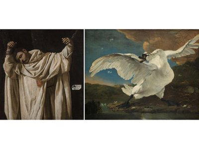 """The pairing of Francisco de Zurbarán's The Martyrdom of Saint Serapion and Jan Asselijn's The Threatened Swan in the Rijksmuseum's """"Rembrandt and Velazquez"""" exhibition inspired MosAIc's creators."""