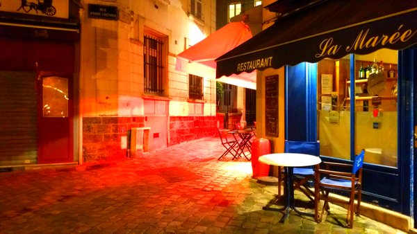 Romantic view of a café at night in Versailles (France) thumbnail