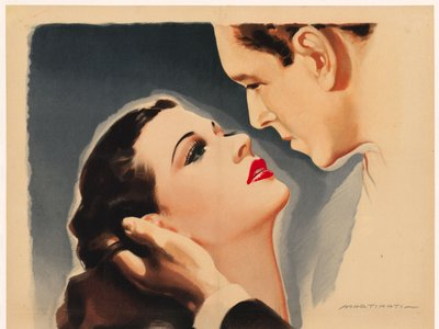"""The Italian poster was created for Lamarr's 1946 World War II film, I Conspiratori (The Conspirators). Her image reflects the allure that led to her being called the """"most beautiful woman in the world."""""""