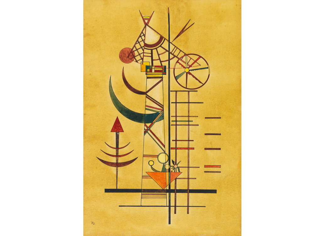 A yellow paper with a precise, geometric arrangement of shapes, curved slivers, and thin lines arranged vertically