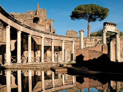 At Villa Adriana, built by the emperor Hadrian in the second century A.D., these column surrounded a private retreat ringed by water.