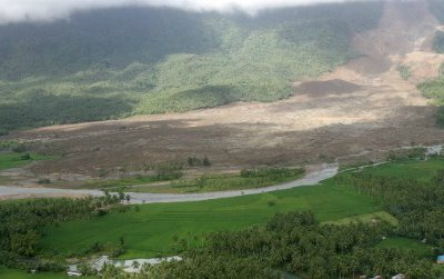 Landslides can be both sudden and devastating to people living in the shadows of mountains. This one, which slid in 2006 in the Philippine province of Southern Leyte, killed more than 1000 people.