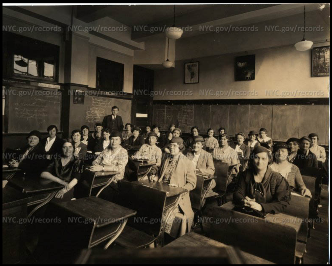 Women at the Institute for Adult Education at DeWitt Clinton High School in the Bronx, 1934.