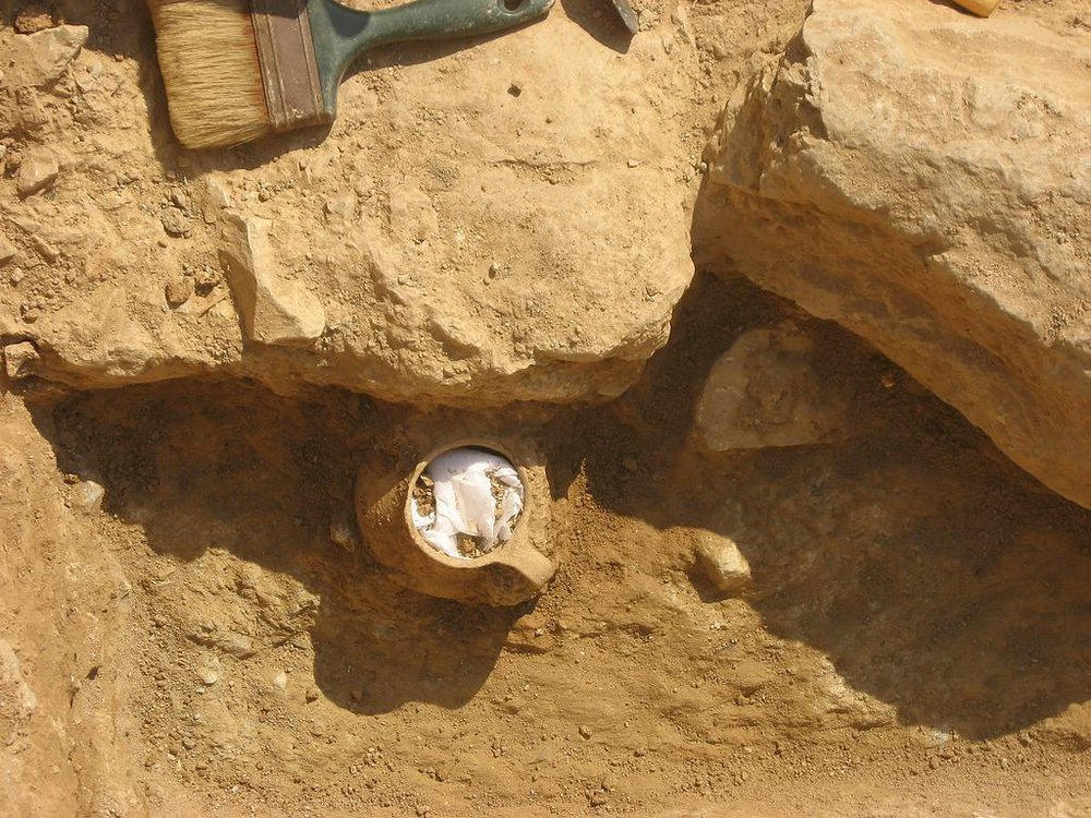 Overhead view of ceramic jar found in Athens