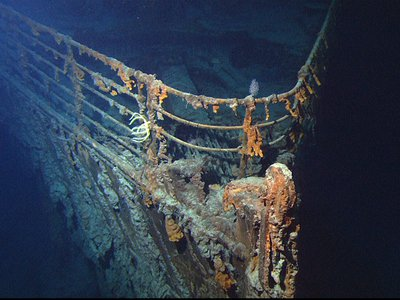 The bow of the shipwrecked Titanic.