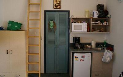 Bedroom + kitchen + bathroom
