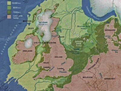 A map of Doggerland, which once connected Britain to mainland Europe