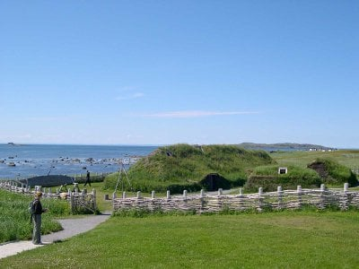 A recreation of Viking structures at L'Anse aux Meadows