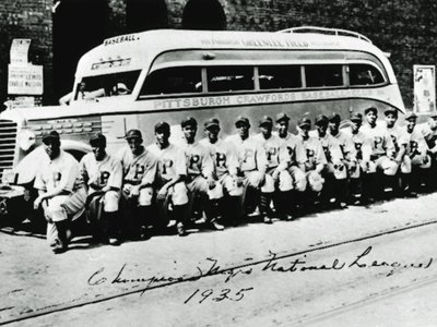 The Pittsburgh Crawfords, 1935 Negro National League Champions, are considered by many to be the greatest African American league team ever fielded. The team included five future Hall of Famers, from left: Oscar Charleston, first; Judy Johnson, fifth; Cool Papa Bell, 12th; Josh Gibson, 15th; and Satchel Paige, 17th.