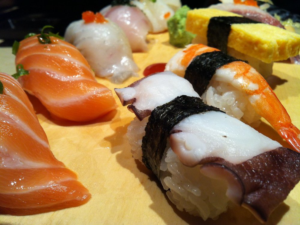 Image of sushi made with raw fish