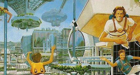 People in a space colony of the future