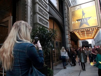"""A photo taken outside of """"Hamilton: An American Musical"""" in Chicago. The new exhibition will join the musical in the Windy City in the fall of 2018."""