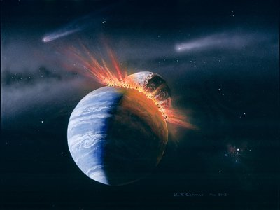 Visualization of the giant impact that formed the moon
