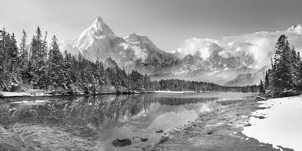 Landscape of Maine, and mountains of Alaska, digitally combined and modified for a new landscape. thumbnail