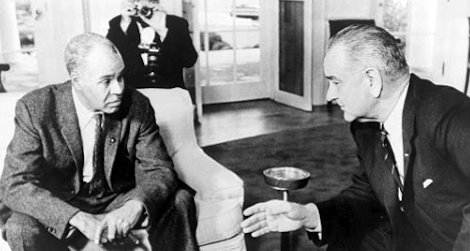 Roy Wilkins (left) with Lyndon B. Johnson at the White House on November 29, 1963