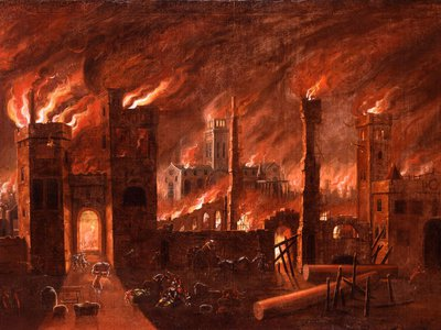 Oil painting of the Great Fire, seen from Newgate.