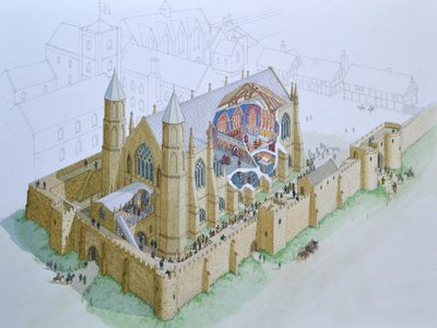 A reconstruction image showing the scale and decorated interior of Bishop Bek's 14th-century chapel at Auckland Castle
