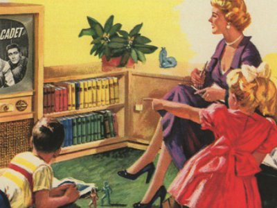 Portion of a magazine ad for Friedman-Shelby shoes showing an American family watching TV (1954)