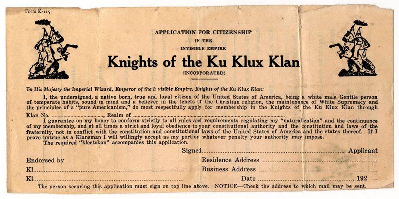 Printed application for membership in the Ku Klux Klan