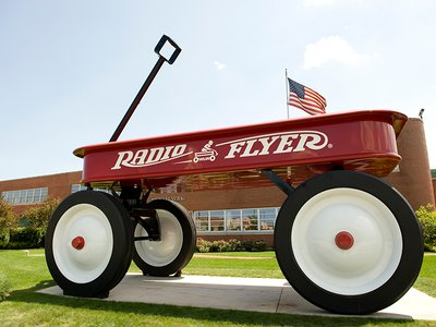 To celebrate the company's 80th anniversary, Radio Flyer created the world's largest wagon, which weighs in at 15,000 pounds.