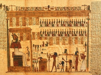 This fragment of the Egyptian Book of the Dead depicts the god Osiris. Two segments of a different Book of the Dead were recently reunited digitally.