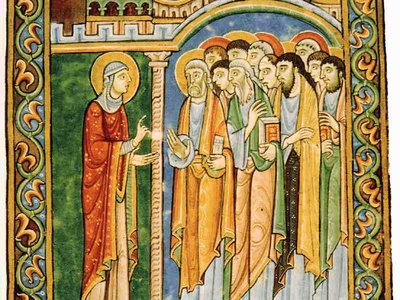 In this 12th century illuminated manuscript Mary Magdalene announces the resurrection to the apostles.