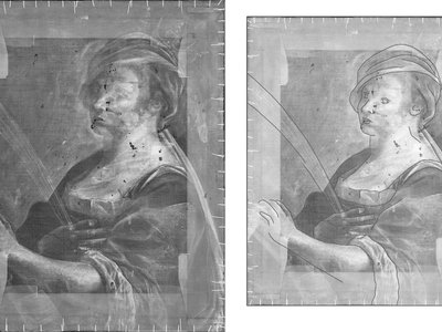 Underdrawing as seen under X-ray (left) and underdrawing superimposed with elements of 1619 portrait (right)