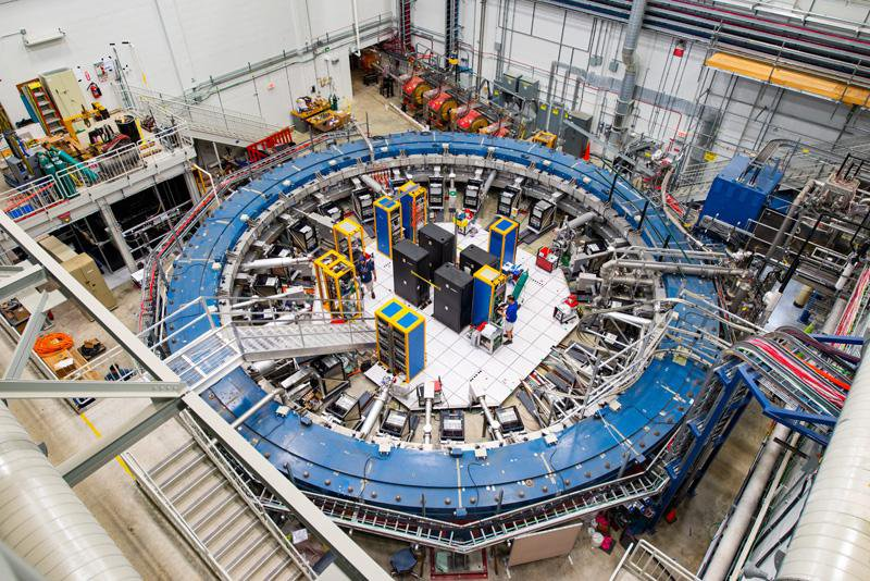 A 50-foot-wide blue ring used at Fermilab to study particle physics