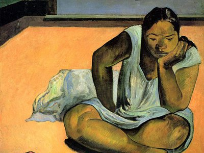 """""""The Brooding Woman,"""" by Paul Gauguin, was one of the paintings stolen at gunpoint from the Worcester Art Museum in 1972."""