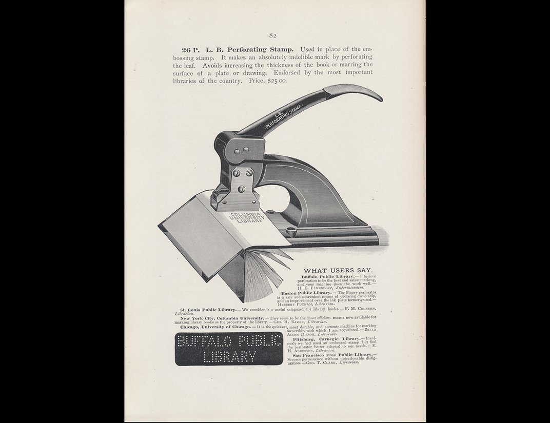 Illustration of black perforating stamp punching a library's name onto a paper booklet.