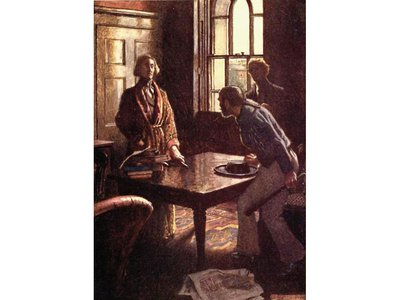 This illustration from The Murders in the Rue Morgue portrays Dupin, the first literary 'genius detective,' questioning a suspect.