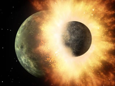 An artist's concept of a moon-sized body slamming into a Mercury-sized world in another solar system. High speed collisions like this were more likely to occur in systems with gas giants, but they took place early in a planet's life, allowing time for the world to recover. (NASA/JPL-Caltech)